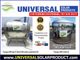 Sin BISFENOL A: CISTERNAS 450,600,780,1200, OFICINA CENTRAL UNIVERSAL SOLAR #TEL 787-635-5575 Puerto Rico