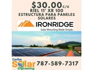 Riel 11' XR 100 Iron Ridge, Caribe Solar Engineering Puerto Rico
