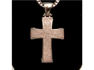 Cruz con Diamantes en Oro Blanco 14kt, Cashex Puerto Rico