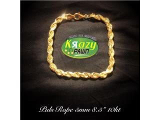 "Pulsera Rope (Soga) Solida 5mm 8.5"" 10kt $550, Krazy Pawn Corp Puerto Rico"