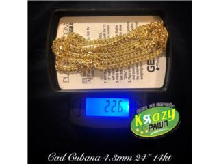 "Cadena Cubana Solida 4.3mm 24"" 14kt $1,265.00, Krazy Pawn Corp Puerto Rico"