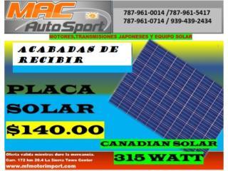 PLACA SOLAR 315 WATTS, Mf motor import Puerto Rico