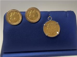 Set 22k Pantallas y pendant de moneda, La Familia Casa de Empeño y Joyería-Ave Piñeiro Puerto Rico