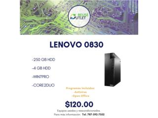 LENOVO 0830 | CORE2DUO | 250 GB HDD | 4 RAM , Reuse Outlet Store Puerto Rico