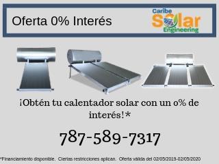 Calentador Solar Financiamiento 0% Interés, Caribe Solar Engineering Puerto Rico