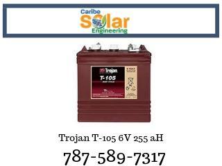 Trojan T105 6v 250ah@100hrs/225ah@20hrs, Caribe Solar Engineering Puerto Rico