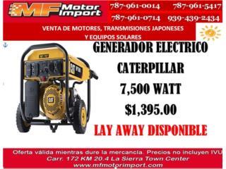 GENERADOR ELECTRICO CATERPILLAR 7,500 WATT, Mf motor import Puerto Rico