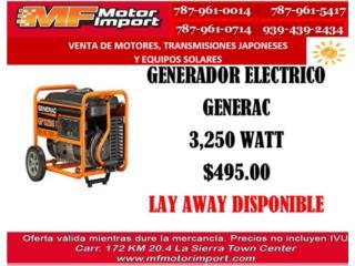 GENERADOR ELECTRICO GENERAC 3,750/3250 RUNNIG, Mf motor import Puerto Rico