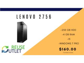 LENOVO 2756 | 250 HDD | 4 GB RAM | W7PRO , Reuse Outlet Store Puerto Rico
