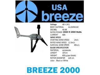 German Wind Turbines 2000 to 2500 Watts 48V, Usa Breeze Puerto Rico