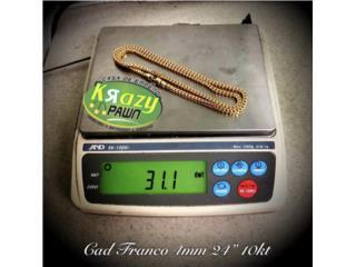 """Cadena Franco USADA 4mm 24"""" 10kt $1,400.00, Krazy Pawn Corp Puerto Rico"""