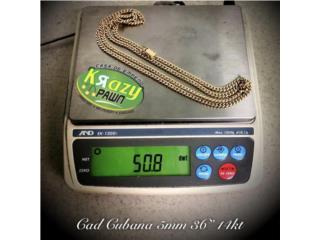 """Cadena Cubana Solida USADA 5mm 36"""" 14kt , Krazy Pawn Corp Puerto Rico"""