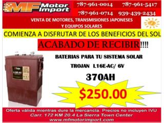 BATERIA TROJAN L16EAC/6V/370AH, Mf motor import Puerto Rico