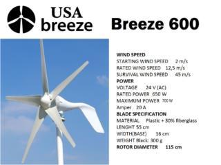 USA Wind Turbines 600@700 W-12 or 24V, Usa Breeze Puerto Rico