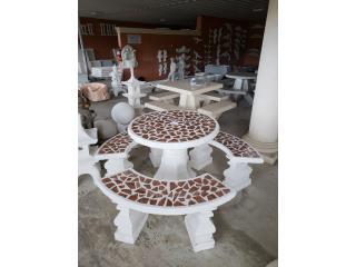Mesas en cemento con mosaicos, Ornamentación Quintana Puerto Rico
