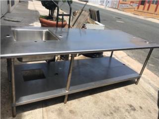 Mesa de trabajo 8p largo ancho 42p + lavamano, Atlantic Supplies Puerto Rico