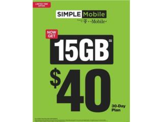 SIMPLE MOBILE 15GB DE DATA POR $40 AL MES*, CAGUAS CELLULAR SYSTEM Puerto Rico