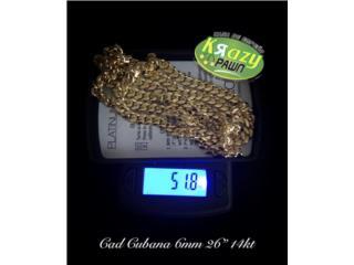 "Cadena Cubana 6mm 26"" 14kt $2,695.00, Krazy Pawn Corp Puerto Rico"