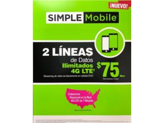 PLAN FAMILIAR SIMPLE MOBILE 2 LINEAS X $75*, CAGUAS CELLULAR SYSTEM Puerto Rico