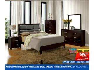 $599 Juego de Cuarto America Full/ Queen, Mattress Discount Center Puerto Rico