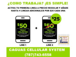 PLAN FAMILIAR SIMPLE MOBILE 2 LINEAS X $75*  , CAGUAS CELLULAR SYSTEM Puerto Rico
