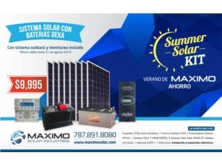 Sistema solar con monitoreo incluido, MAXIMO SOLAR INDUSTRIES Puerto Rico