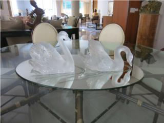 Cisnes (2) de mesa Lalique con espejo, Sucesion Wood Vicente Puerto Rico