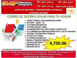 COMBO SISTEMA SOLAR PARA TU HOGAR O NEGOCIO, Mf motor import Puerto Rico