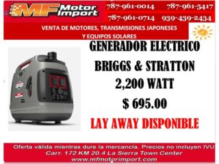 GENERADOR ELECTRICO BRIGGS & STRATTON 2,200 W, Mf motor import Puerto Rico