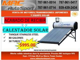 CALENTADOR SOLAR 80 GALONES , Mf motor import Puerto Rico