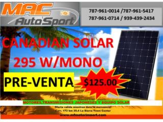 PLACA SOLAR CANADIAN SOLAR 295W PRE-VENTA, Mf motor import Puerto Rico