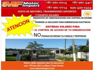 SISTEMA SOLAR PARA CONTROL DE ACCESO, Mf motor import Puerto Rico