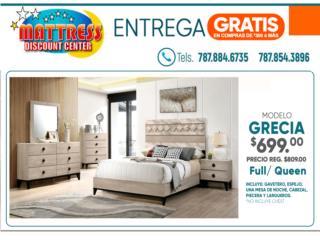 $699 Juego de Cuarto Grecia  Full/ Queen, Mattress Discount Center Puerto Rico