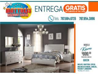 $699 Juego de Cuarto Kiara Queen, Mattress Discount Center Puerto Rico