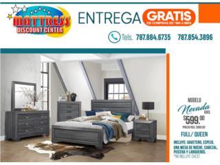 Juego de Cuarto Nevada en Full o Queen, Mattress Discount Center Puerto Rico