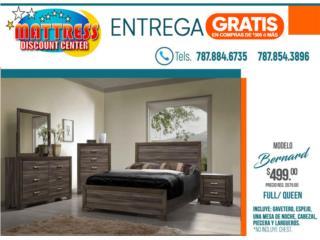 $499 Juego de Cuarto Bernard - Full o Queen, Mattress Discount Center Puerto Rico