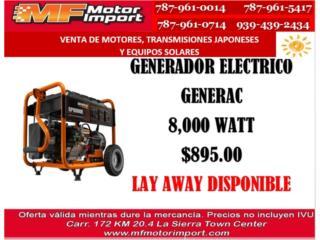 GENERADOR ELECTRICO GENERAC 8,000 WATT, Mf motor import Puerto Rico