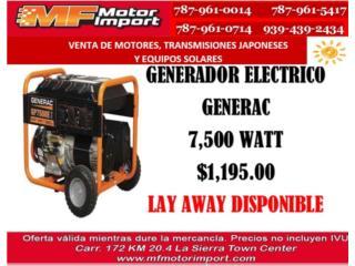 GENERADOR ELECTRICO GENERAC 7,500 WATT, Mf motor import Puerto Rico