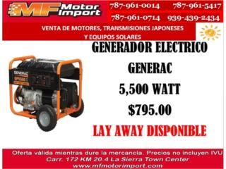 GENERADOR ELECTRICO GENERAC 5,500 WATT, Mf motor import Puerto Rico