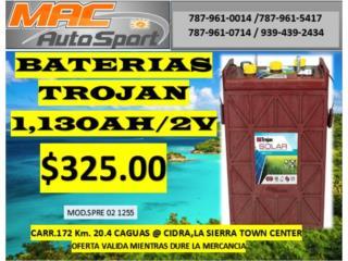 BATERIA SOLAR TROJAN 1,130AH/2V, Mf motor import Puerto Rico