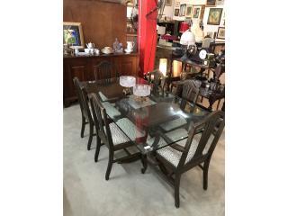 Comedor antiguo con 6 sillas en madera/crista, The Pickup Place Puerto Rico