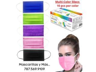 Mascarillas Quirurjicas Multi Colores 50pcs., Mascarillas y Más... Puerto Rico