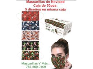 Mascarillas de navidad 5 diseños misma caja, Mascarillas y Más... Puerto Rico