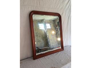 Espejo de Madera Biselado, Mr. Bond Vintage Puerto Rico