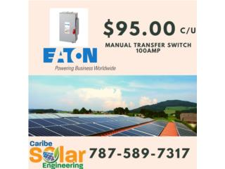 Manual Transfer Switch 100amp, Caribe Solar Engineering Puerto Rico