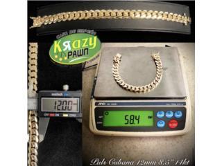 "Pulsera Cubana Solida 12mm 8.5"" 14kt $3,155, Krazy Pawn Corp Puerto Rico"