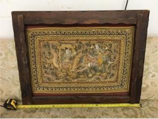 Vintage Handmade Kalaga Framed Tapestry, Mr. Bond Vintage Puerto Rico