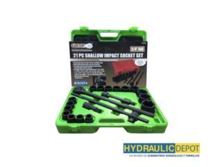 21 PC Shallow Impact Socket Set, Hydraulic Depot/GMC Rentals Puerto Rico