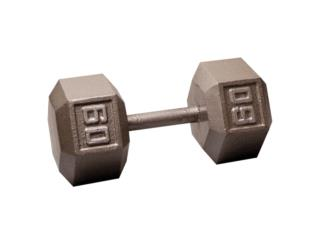 Pair of 60 Lb. Cast Iron Hex Dumbbell, Healthy Body Corp. Puerto Rico
