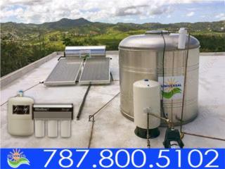 COMBO TANQUE, CALENTADOR, PURIFICADOR AGUA, UNIVERSAL SOLAR - PUERTO RICO        787-800-5102 Puerto Rico